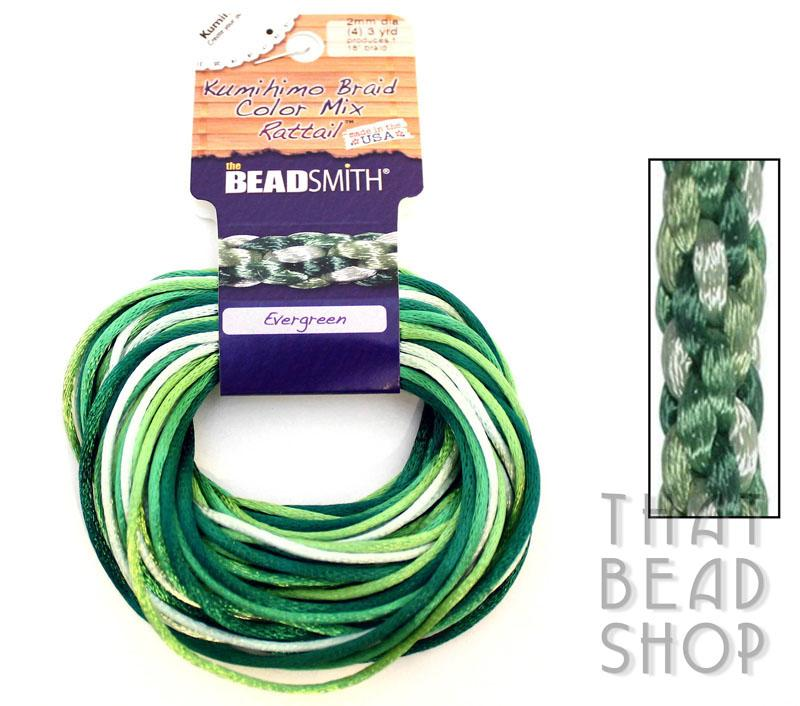 Kumihimo Braid 2mm Satin Rattail Colour Mix - Evergreen