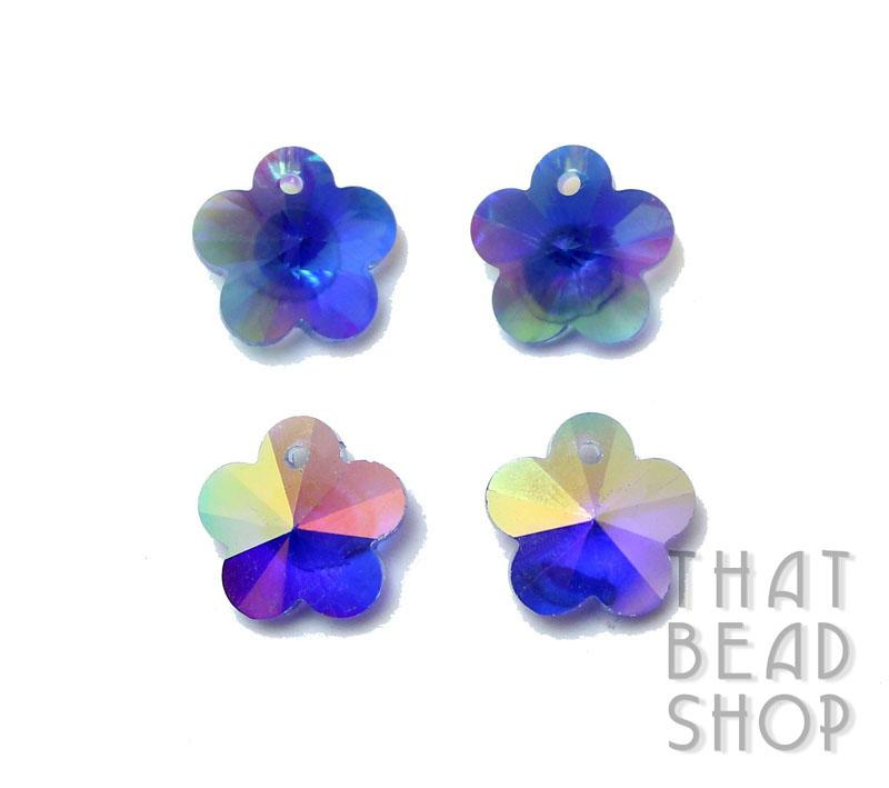 Sapphire AB 13.5mm Crystal Flower Charm - 4 Pack