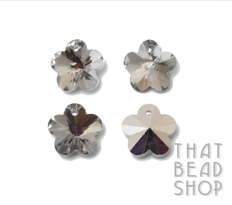 Clear Silver Backed 13.5mm Crystal Flower Charm - 4 Pack