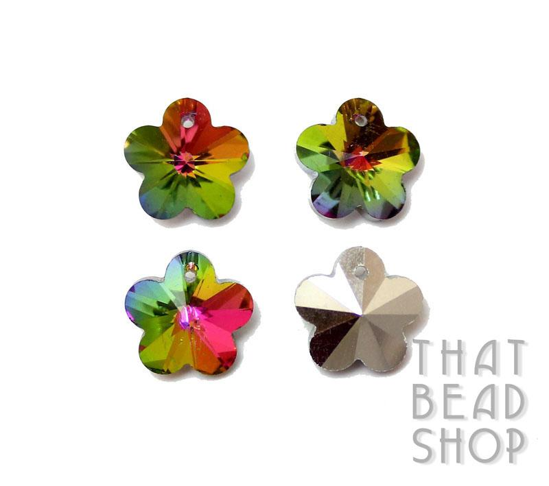 Rainbow Vitrail Silver Backed 13.5mm Crystal Flower Charm - 4 Pack