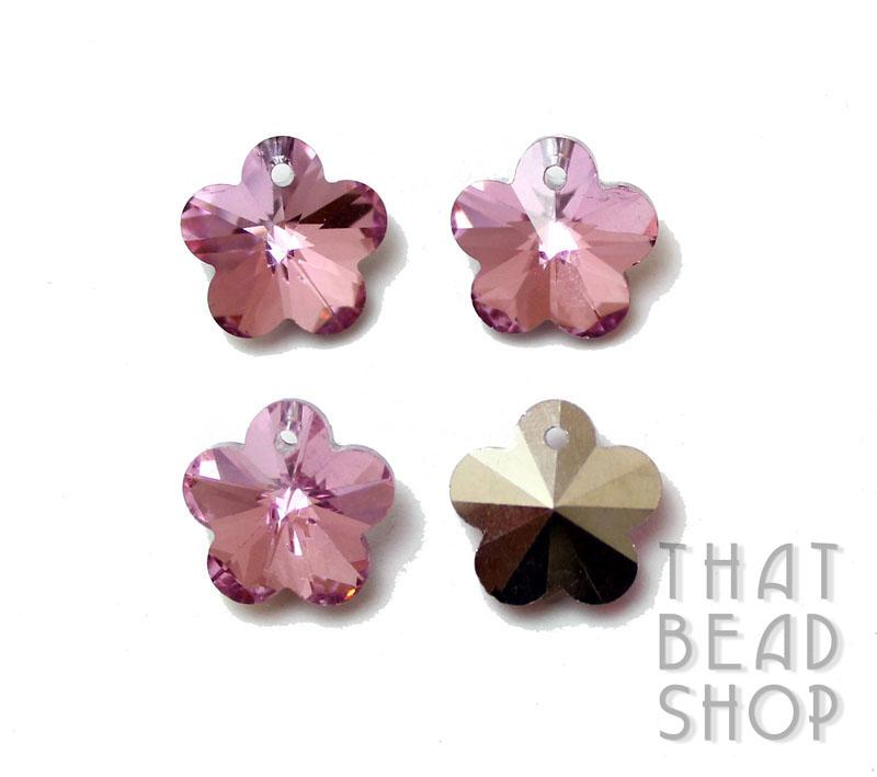 Pink Silver Backed 13.5mm Crystal Flower Charm - 4 Pack