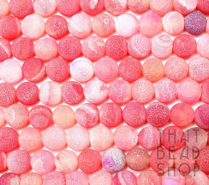 8mm Round Etched Agate - Candy Shades