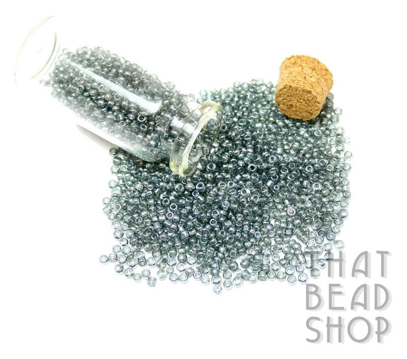 Transparent Silver Lustered Grey Size 11-0 Seed Beads