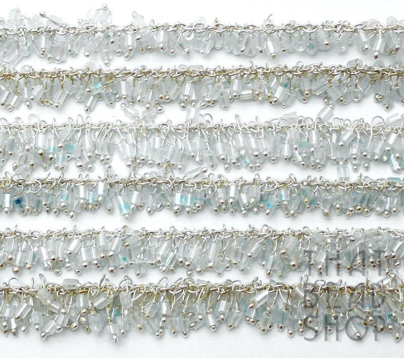 Ice Blue 2 Cut Seed Bead Handmade Lampwork Chain