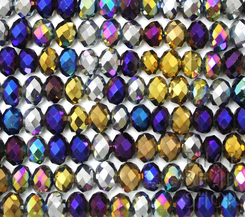 Metallic Mixed Crystal 6mm x 4mm Faceted Roundel