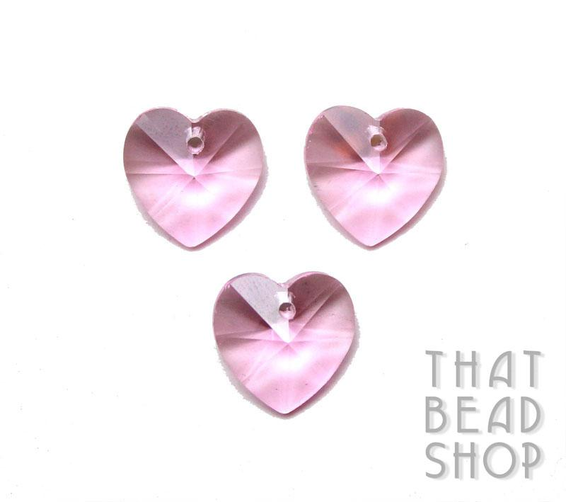 Pink 14mm Crystal Heart Charm - 4 Pack