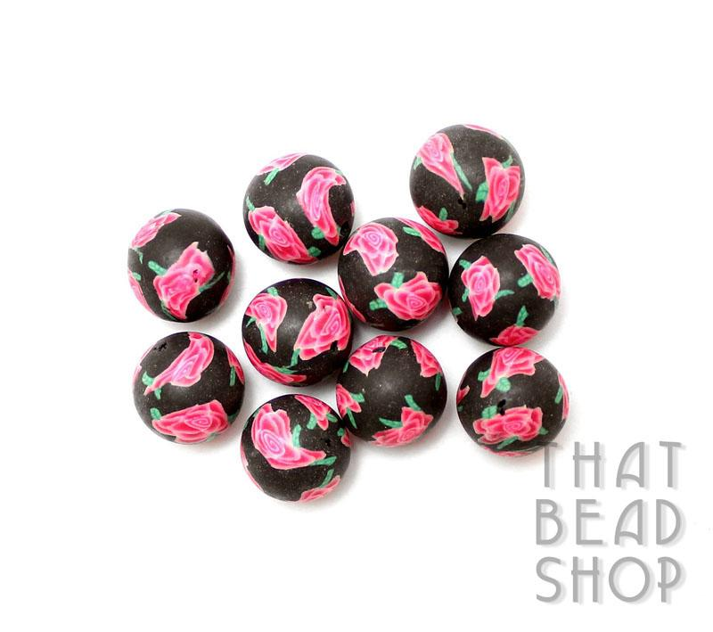 Pink Rose 11mm-12mm Round Polymer Clay Bead