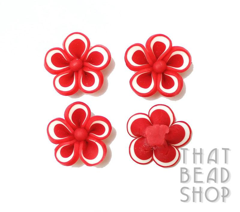 White Edge Red Polymer Clay Flower - 4 pack