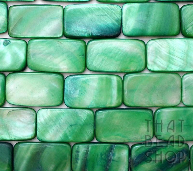 Green Large Shell Rectangle