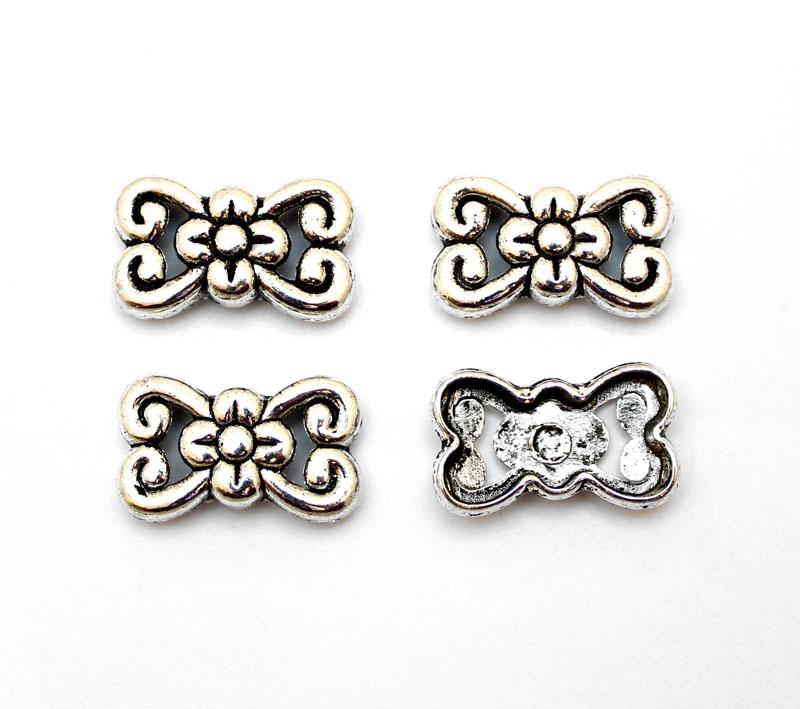 Antique Silver Floral Bow 2 Strand Spacer