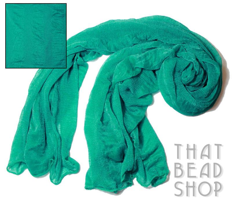 Teal Green Silky Knit Scarf