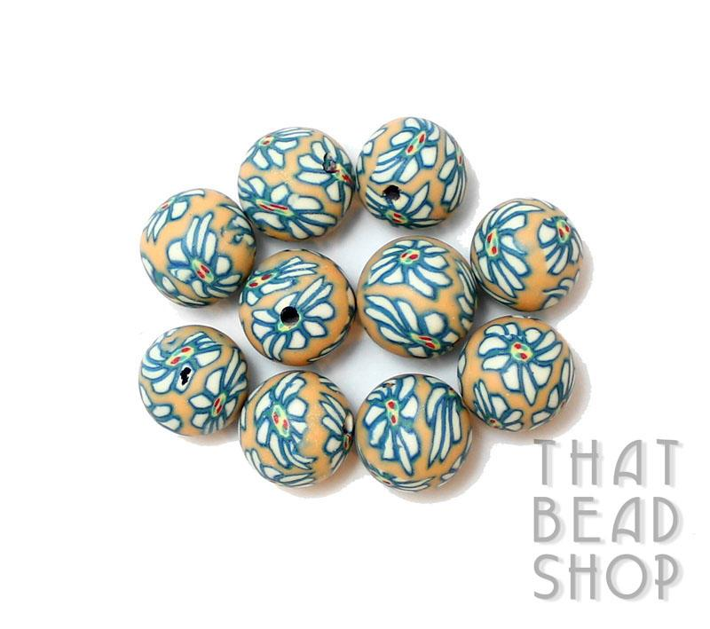 Teal and White 9-10mm Round Polymer Clay Bead