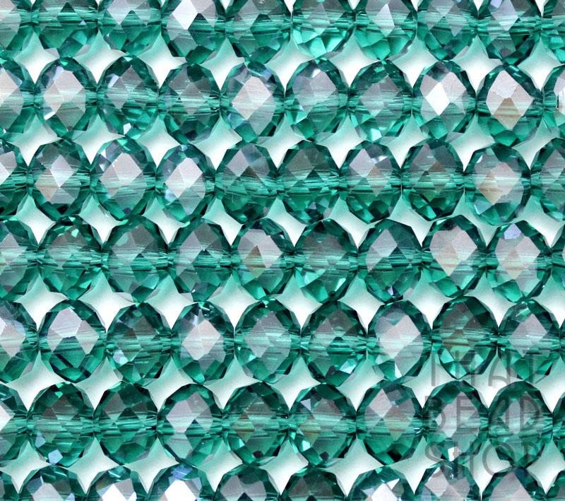 Teal Crystal 8mm x 6mm Faceted Roundel