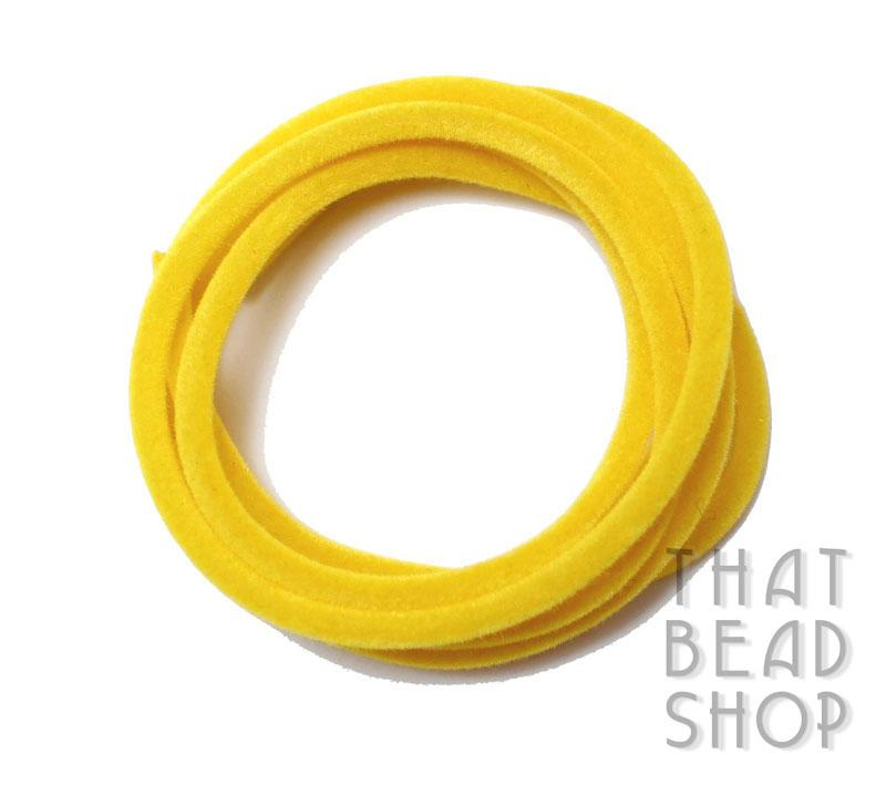 Bright Yellow 3mm Velvet Rubber Tubing