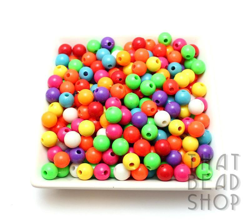 10mm Round Mixed Colour Craft Beads