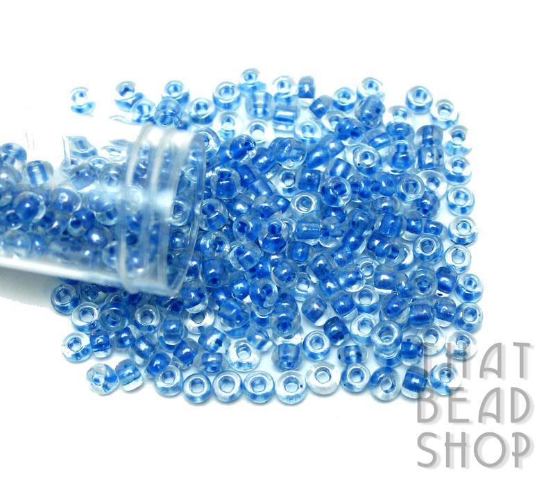 Size 6-0 Seed Beads - Colour Lined Clear with Blue