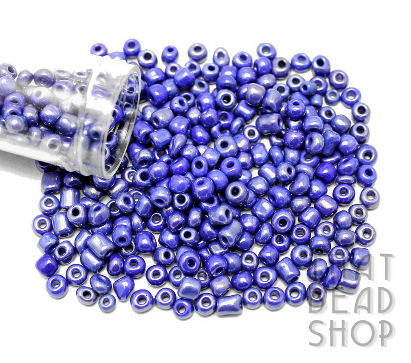 Size 6-0 Seed Beads - Opaque Lustered Dark Blue