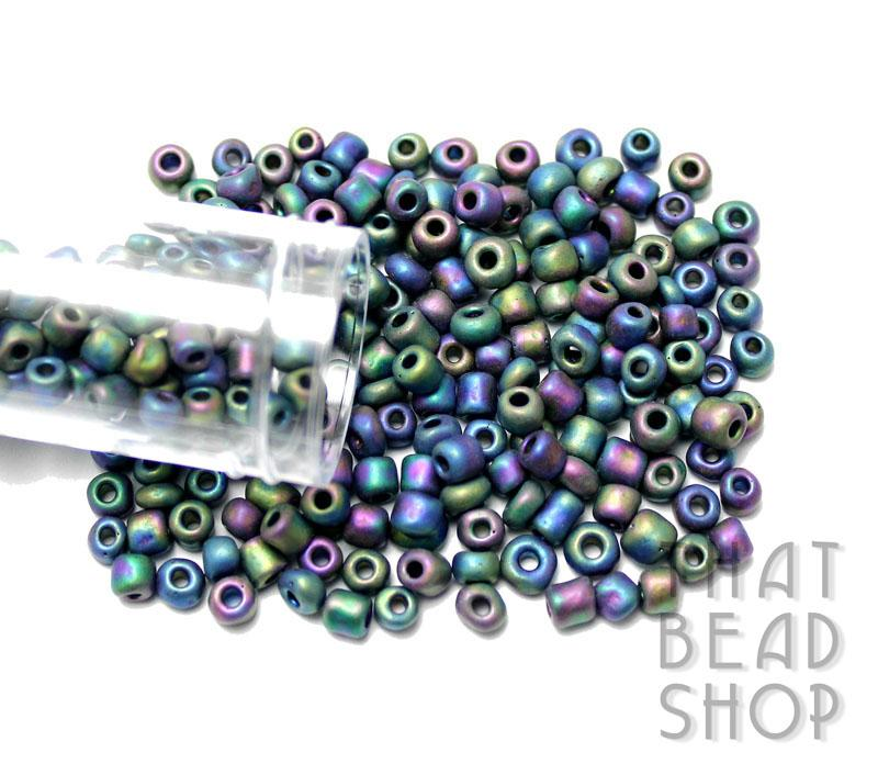 Size 6-0 Seed Beads - Opaque Rainbow Frosted Black