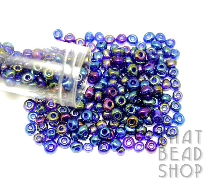 Size 6-0 Seed Beads - Transparent Rainbow Royal Blue