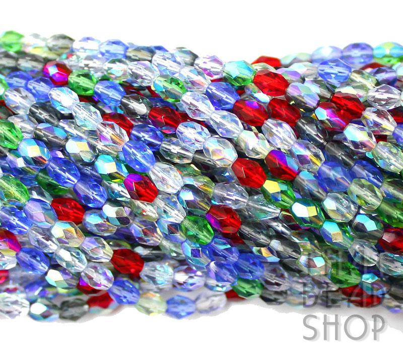 6mm x 4mm AB Jewel Fire Polished Faceted Oval