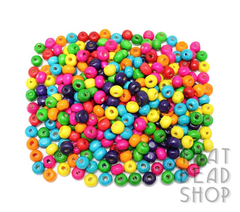 Inventory: Wood Beads - Bright Mix Roundel Wood Beads - 6 5mm x 5mm