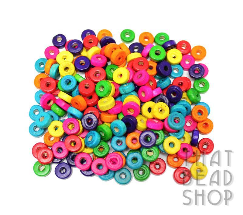 Bright Mix Heishi Wood Beads