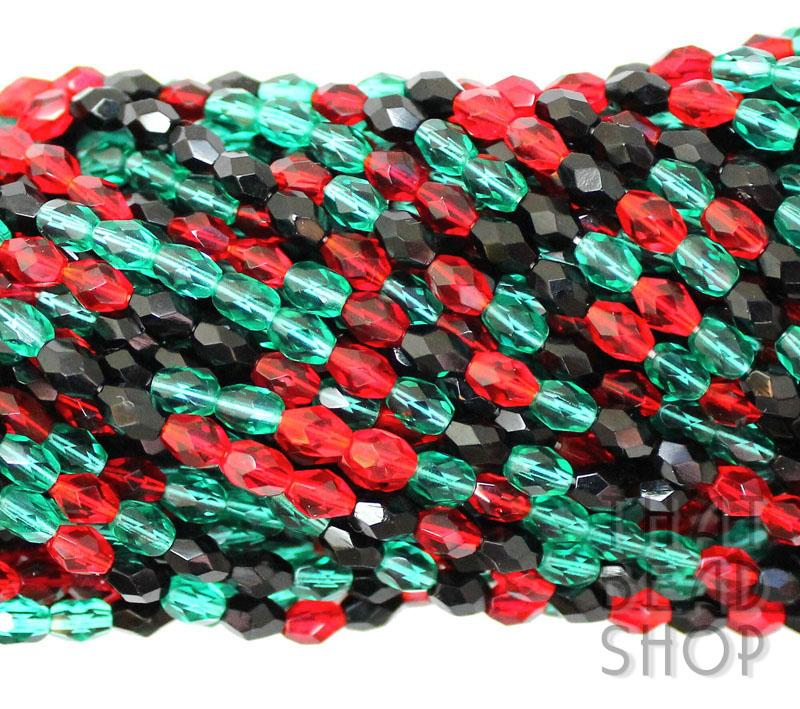 6mm x 4mm Dark Christmas Fire Polished Faceted Oval