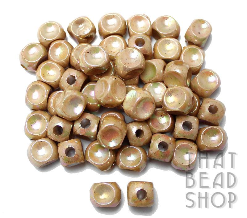 Acrylic Dimpled Cubes - Opaque Beige Rainbow 13.5mm