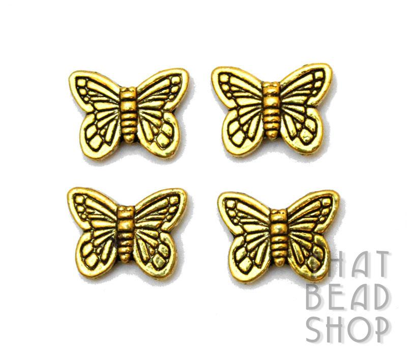 Butterfly Metal Bead - Antique Gold