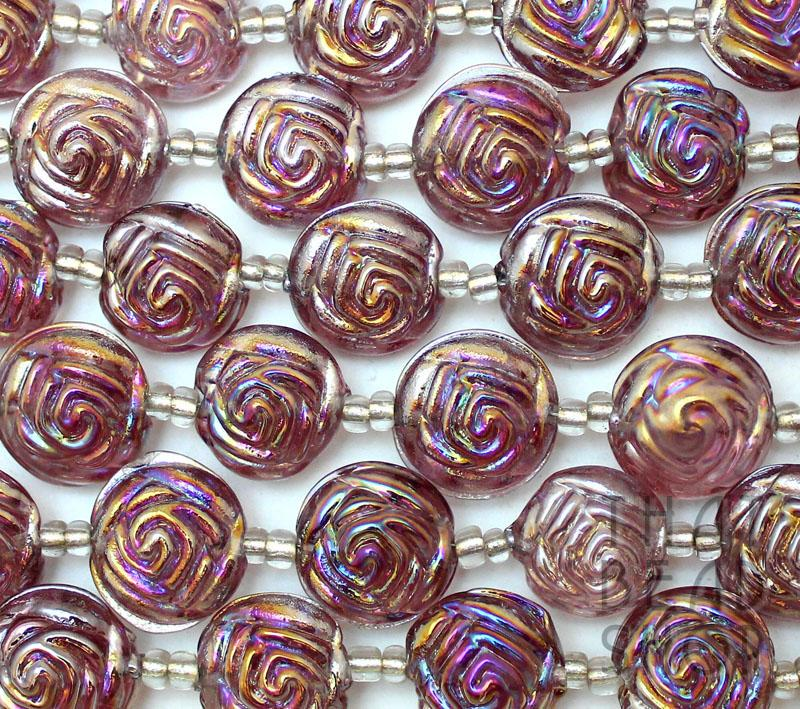Light Amethyst with Rainbow Lampwork Rose