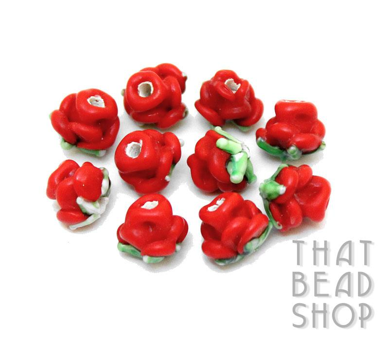 Opaque Red Miniature Rose Buds - 10 Pack