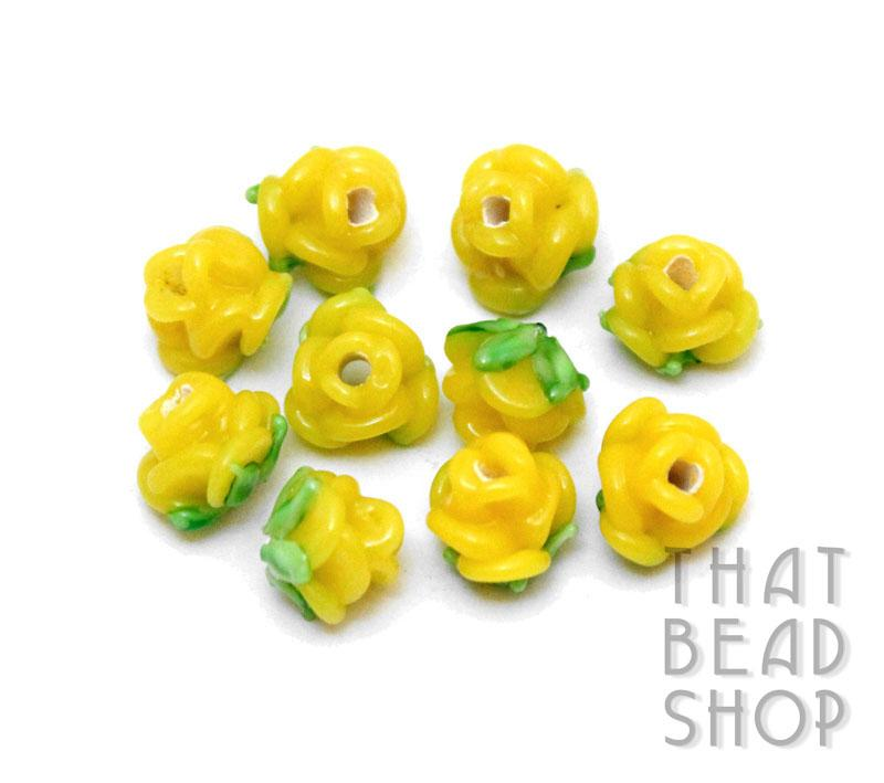 Opaque Yellow Miniature Rose Buds - 10 Pack