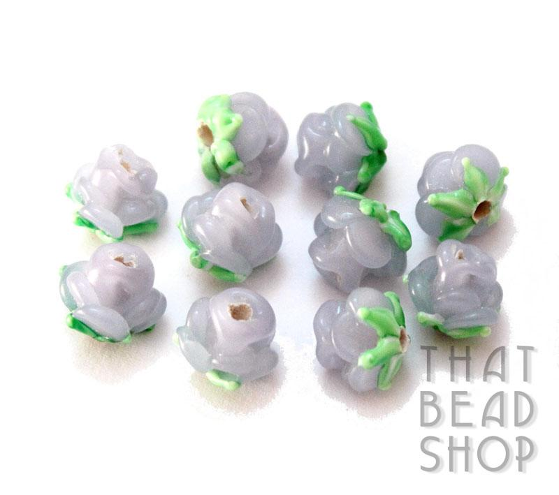 Semi Opaque Violet Miniature Rose Buds - 10 Pack