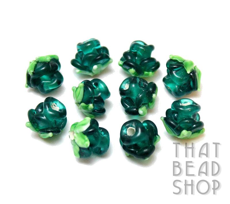 Transparent Teal Miniature Rose Buds - 10 Pack