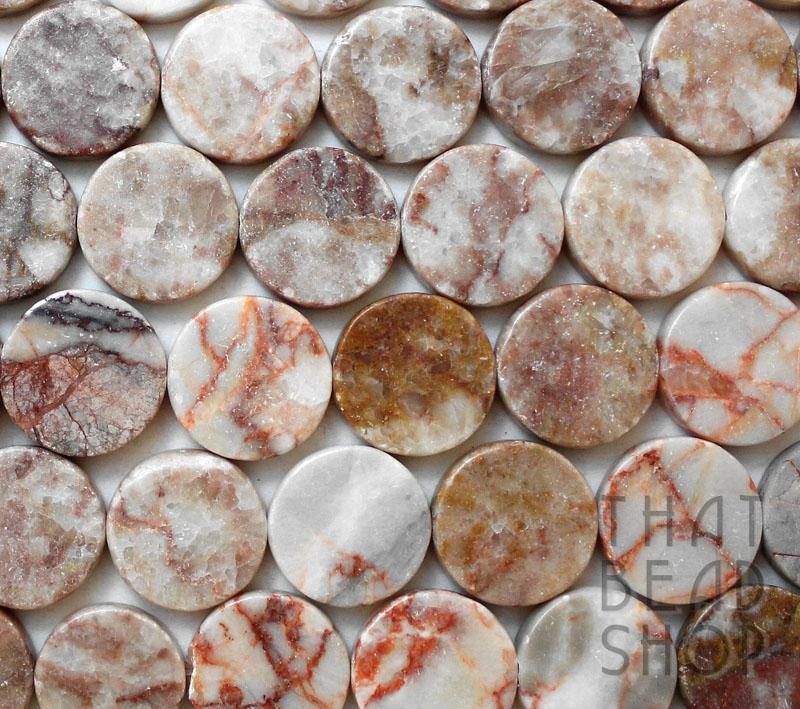 C Grade Natural Red Lined Marble Coin - 20mm