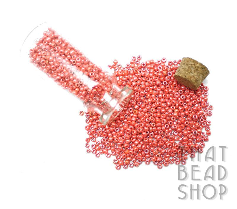 Opaque Lustered Coral Size 11-0 Seed Beads