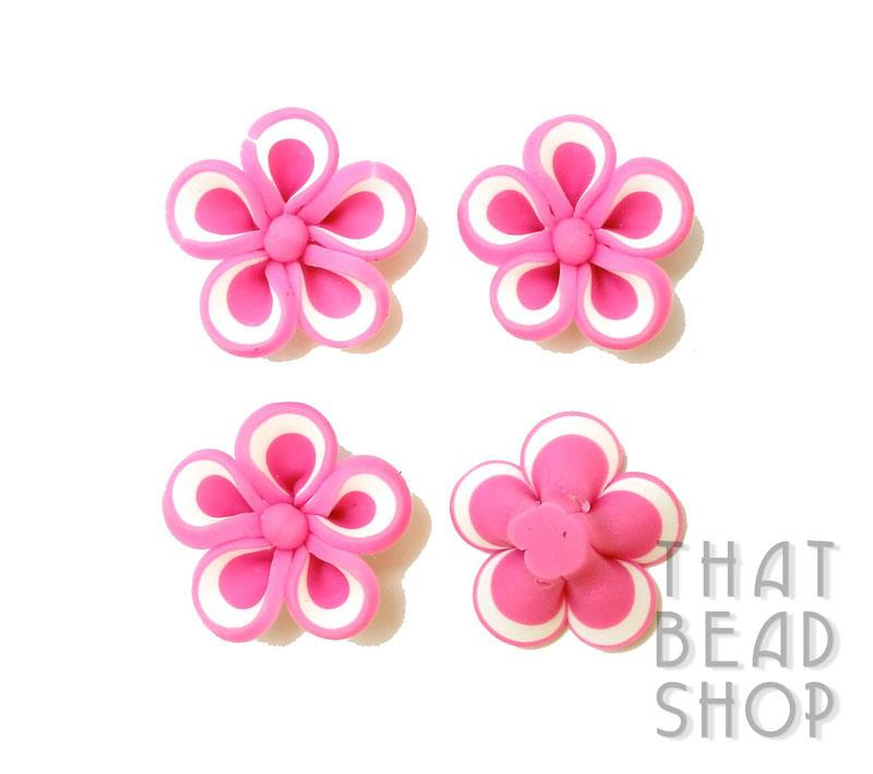White Edge Pink Polymer Clay Flower - 4 pack