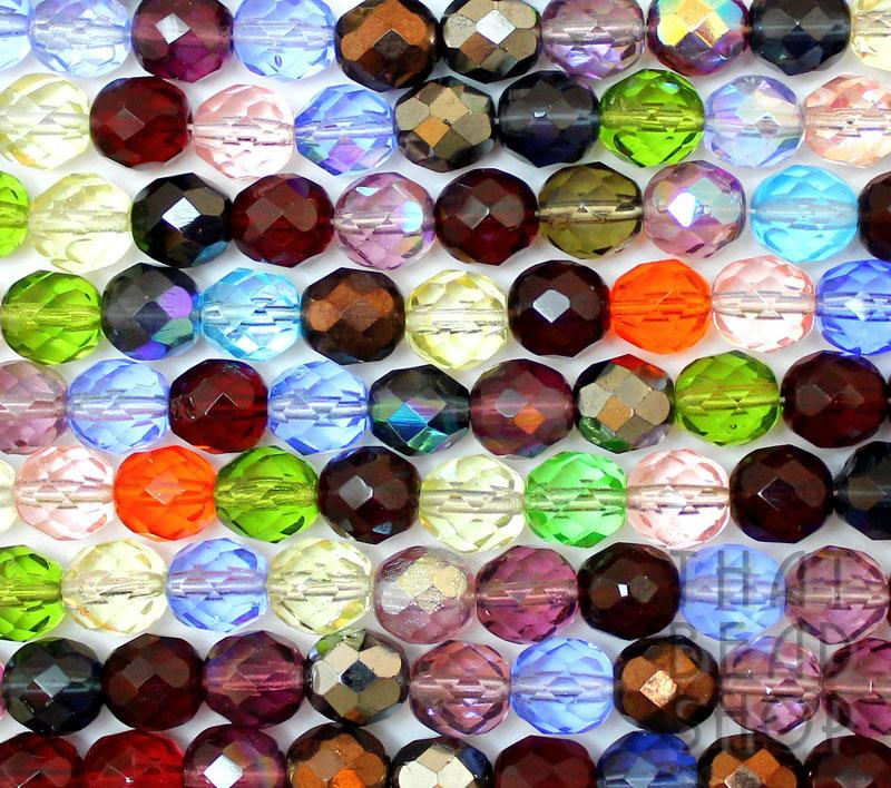 8mm Rainbow Mixed Fire Polished Faceted Round