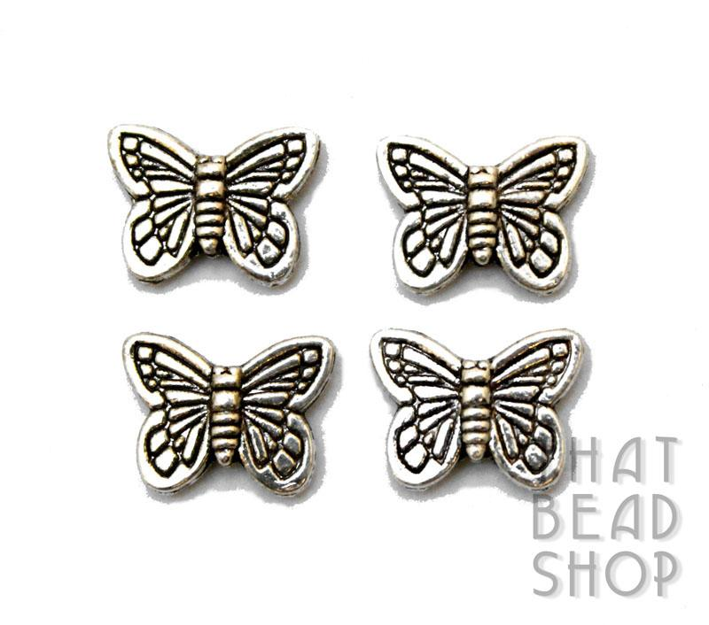 Butterfly Metal Bead - Antique Silver