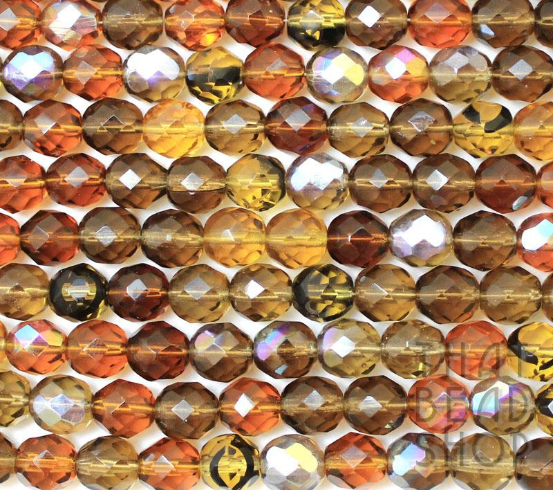 8mm Topaz Mixed Fire Polished Faceted Round