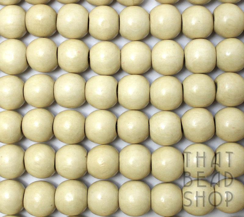 14mm Round Wooden Beads - Natural