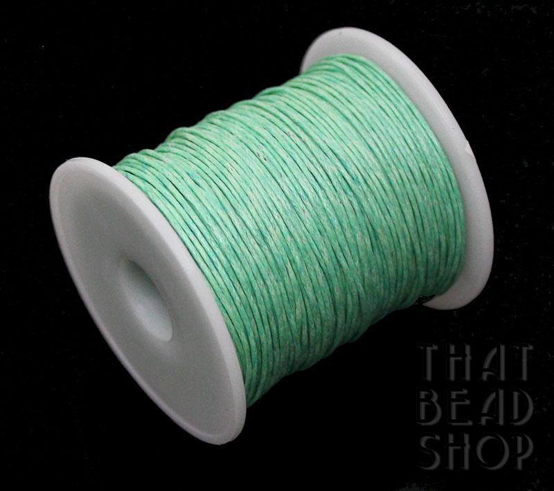 1mm Mint Waxed Cotton Cord Roll - 100 Yards