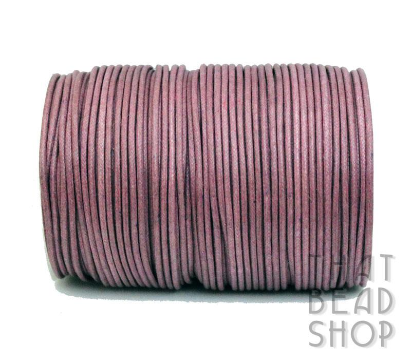 2mm Dark Pink Waxed Cotton Cord 100m Roll
