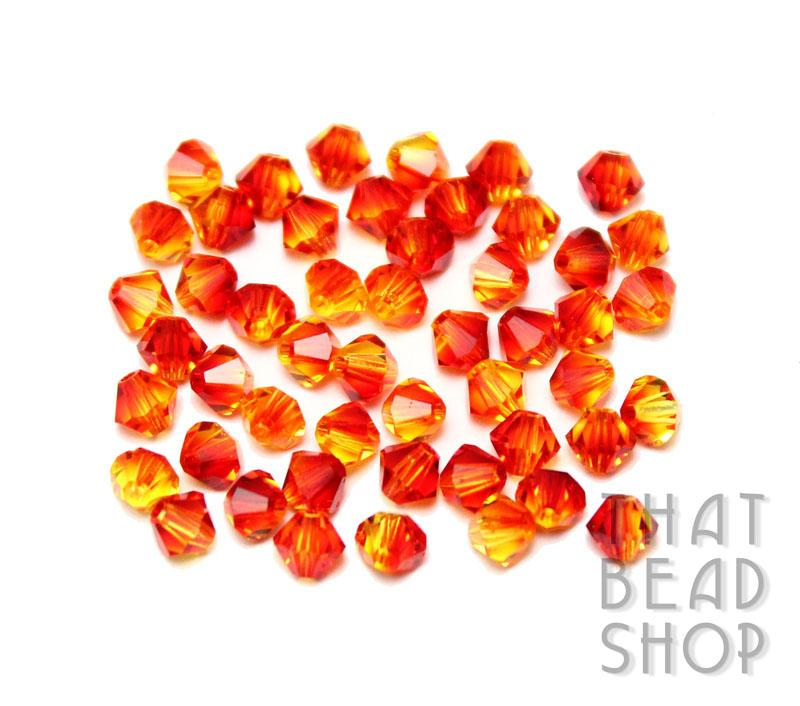 Swarovski 4mm Faceted Bicone 5301 - Fire Opal