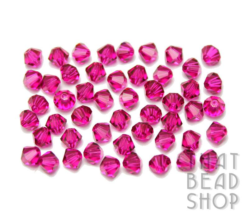 Swarovski 4mm Faceted Bicone 5301 - Fuchsia