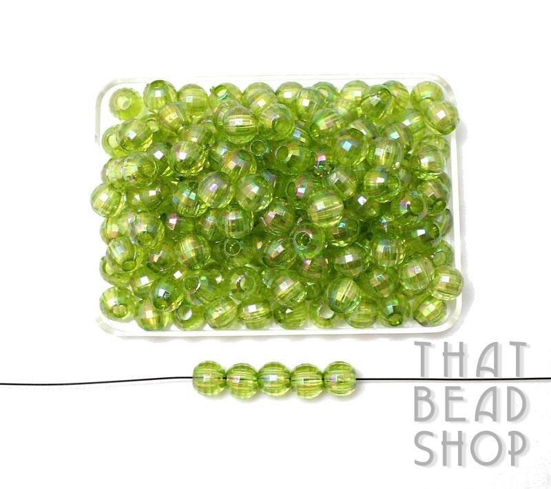 Acrylic Faceted 7mm Ball - Transparent Lime with Rainbow Coating