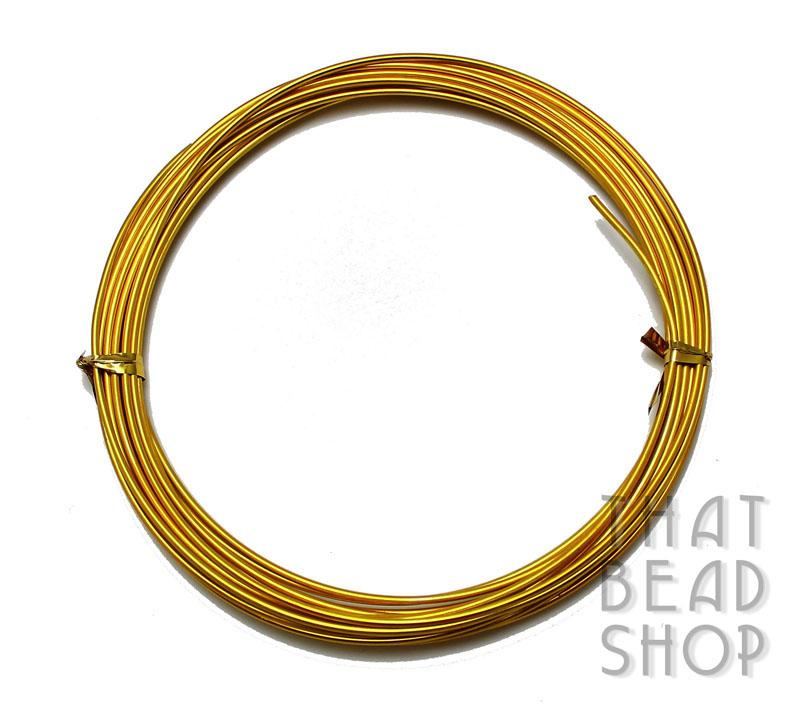 1.5mm (15 Gauge) Aluminium Wire - Gold Plated