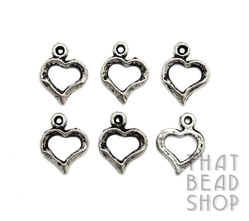 Antique Silver Heart Frame Charms