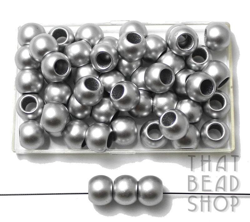 Matt Silver Pony Beads - 7.5mm x 9.5mm