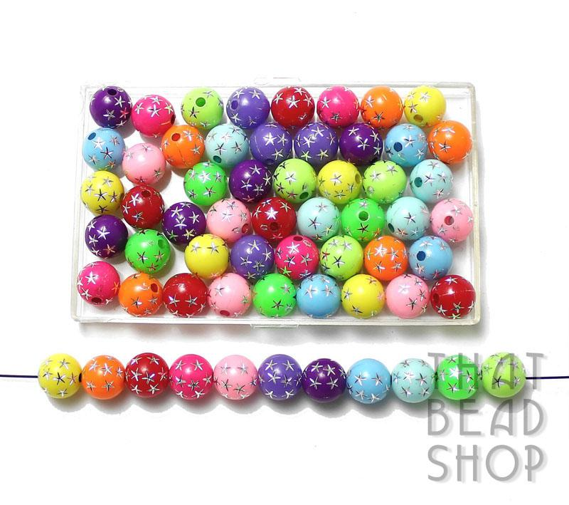 Acrylic Round 8mm - Opaque Rainbow with Silver Stars